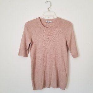 Madewell Metallic Blush Ribbed Sweater, Size M